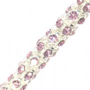 Baby pink  rhinestone silver plated reticulated chain